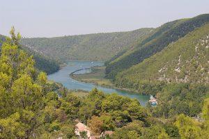 Vista dall'alto del fiume all'interno del Parco di Krka
