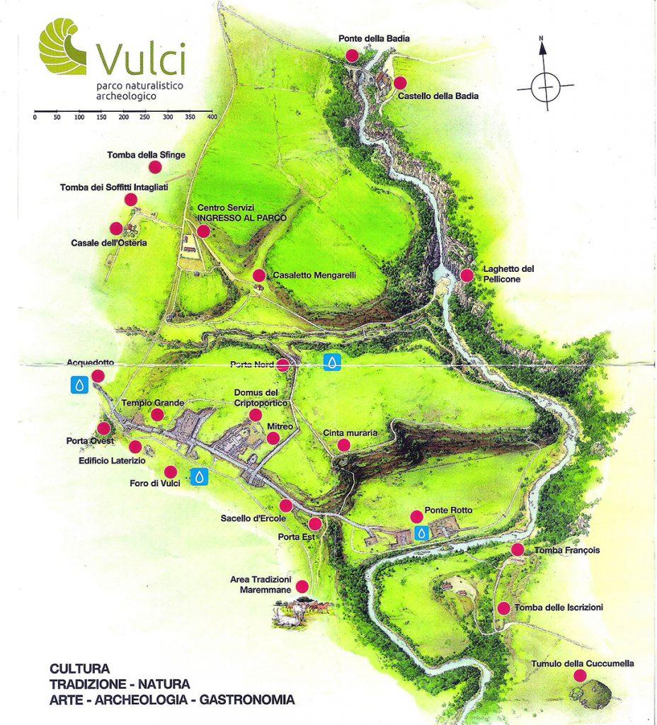 mappa del parco archeologico di Vulci