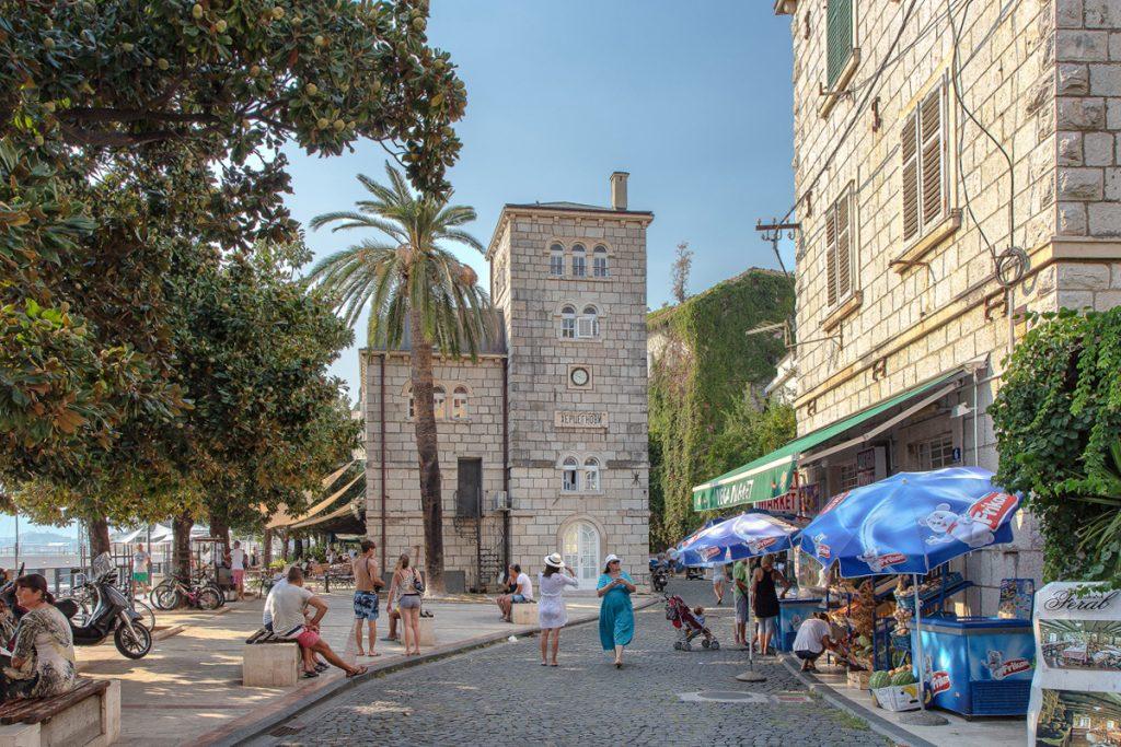 lungomare di Herceg Novi con alberi e piante, visto durante il tour nella baia di Kotor