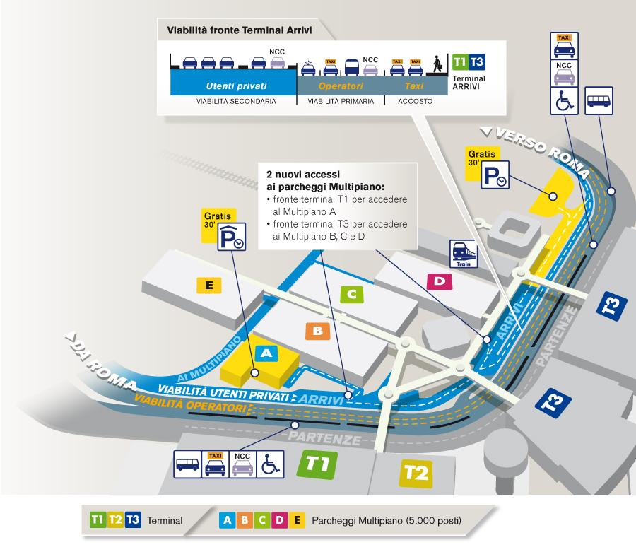 La mappa dell'aeroporto di Roma FIumicino con i vari gate