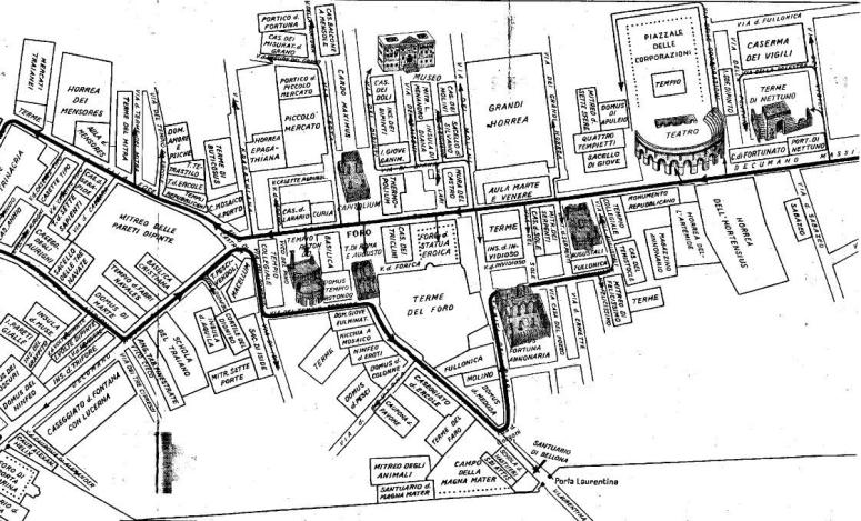 mappa degli scavi di Ostia Antica