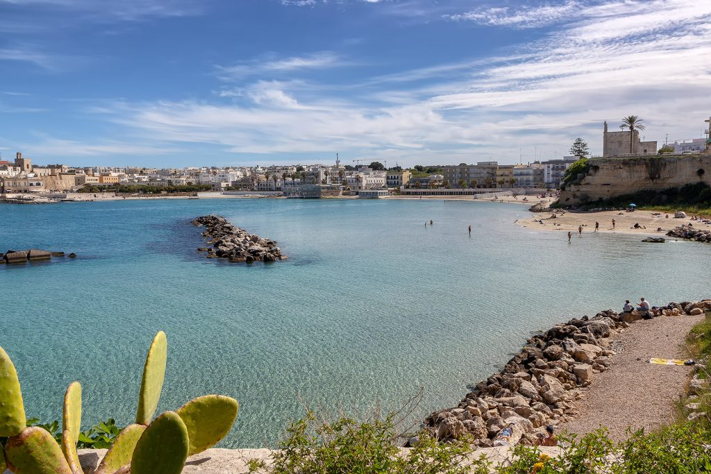 Spiaggia di Otranto con pianta di fico sulla sinistra ripresa durante le vacanze a Otranto
